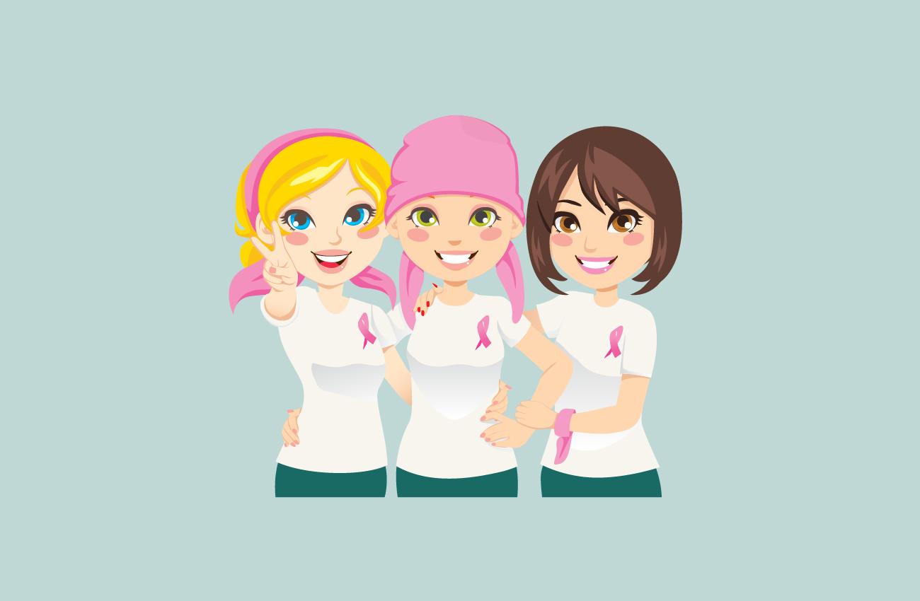 3 women united against cancer.