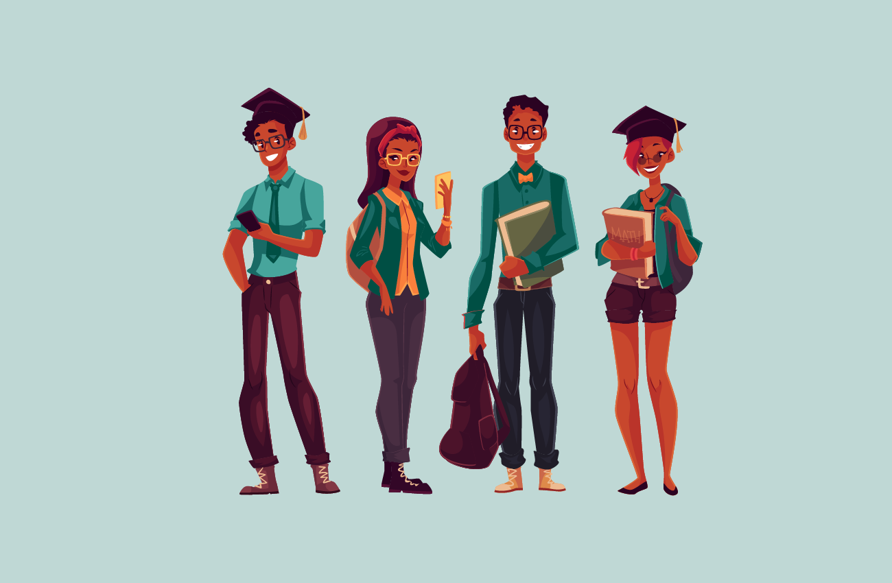 African american group of college student