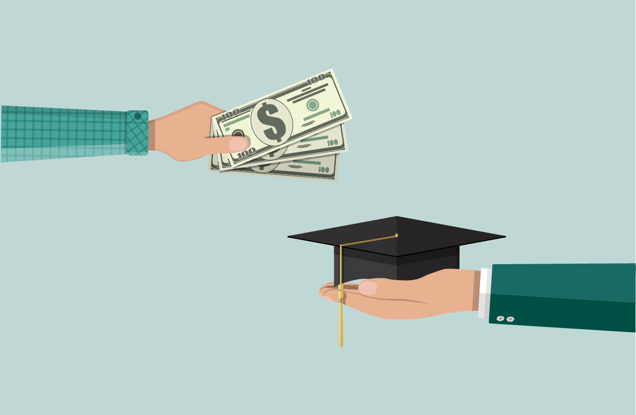Hand giving money in exchange of graduation cap