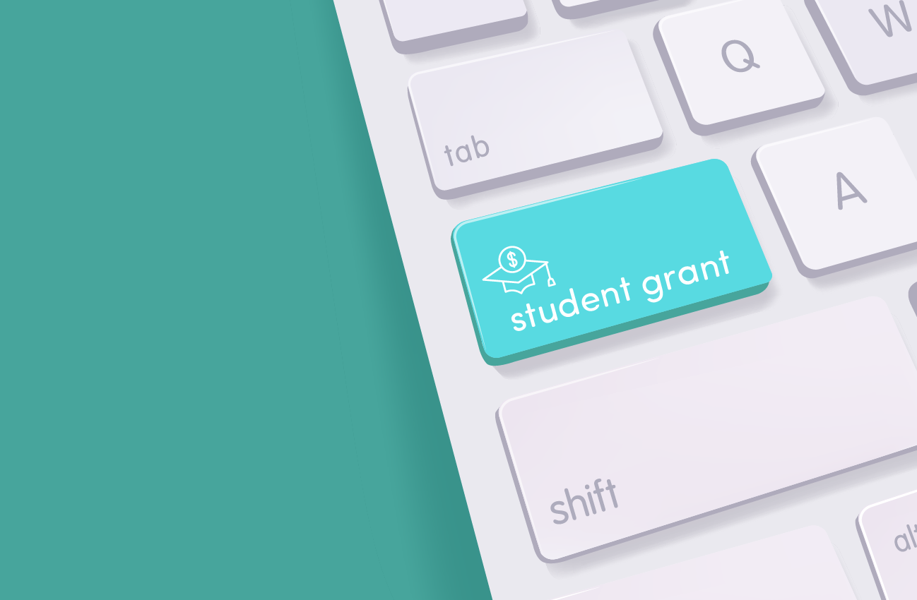 Student grant button on a keyboard