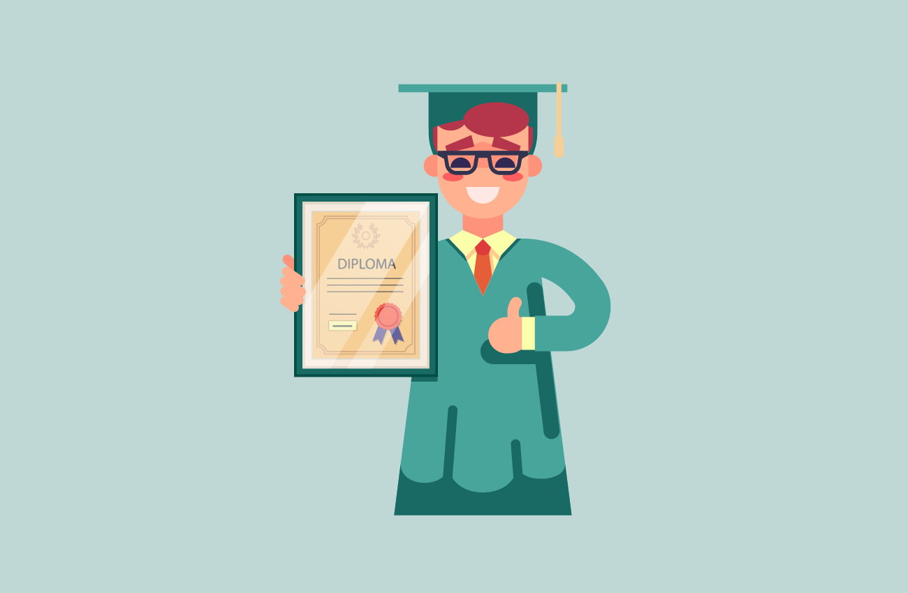 Student with glasses having a diploma.